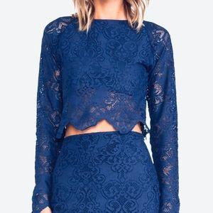 For Love & Lemons Blue Lace Long Sleeve Crop Top